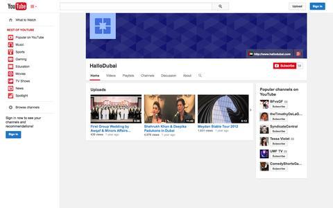 Screenshot of YouTube Page youtube.com - HalloDubai  - YouTube - captured Oct. 22, 2014