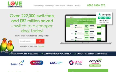 Screenshot of Home Page loveenergysavings.com - Energy Comparison | Compare Energy Prices | Love Energy Savings - captured March 22, 2019