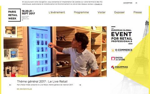 Screenshot of Home Page parisretailweek.com - Paris Retail Week, le plus grand événement retail et e-commerce en Europe - Paris Retail Week - Paris expo Porte de Versailles - captured May 8, 2017
