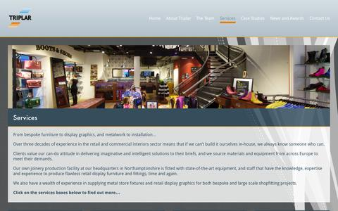 Screenshot of Services Page triplar.co.uk - Our retail display, shopfitting & commercial interiors services - captured Oct. 8, 2014