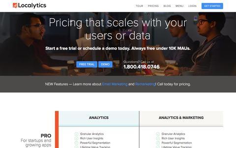 Screenshot of Pricing Page localytics.com - Localytics Plans and Pricing - captured Dec. 16, 2015