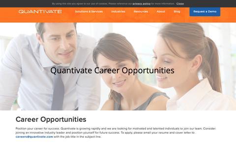 Screenshot of Jobs Page quantivate.com - Quantivate Careers - captured March 1, 2019