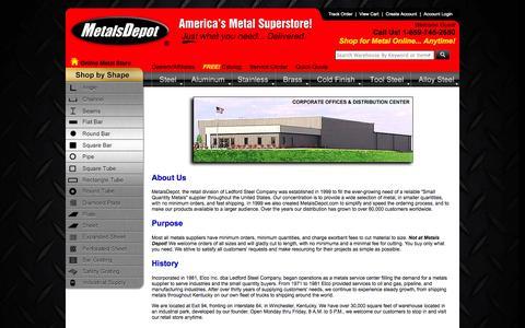 Screenshot of About Page metalsdepot.com - Metals Depot® - About Us - captured Oct. 27, 2014