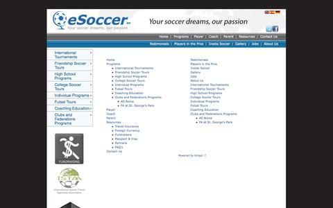 Screenshot of Site Map Page educationsoccertravel.com - myesoccer - captured Oct. 3, 2014