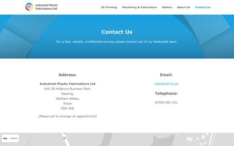 Screenshot of Contact Page ipfl.co.uk - Contact Us - IPF Ltd - captured Nov. 17, 2016
