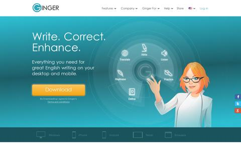 Screenshot of Home Page gingersoftware.com - Grammar and spell checker for better English communication | Ginger Software - captured July 11, 2014