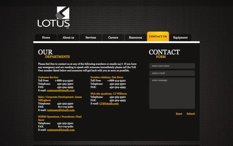 Screenshot of About Page Privacy Page Contact Page Services Page Jobs Page FAQ Page lotusllc.com - Lotus LLC Contact Us - captured Oct. 27, 2014