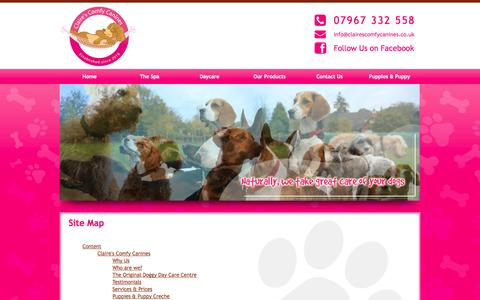 Screenshot of Site Map Page clairescomfycanines.co.uk - Site Map : Claire Hunter - captured Sept. 30, 2014