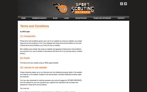 Screenshot of Terms Page sportscoutingnetwork.com - Terms and Conditions - captured Oct. 7, 2014