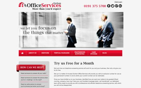 Screenshot of Trial Page durhamofficeservices.co.uk - Telephone Answering Services Trial | Call Answering Services Durham | Virtual PA North East | Newcastle - captured Sept. 30, 2014