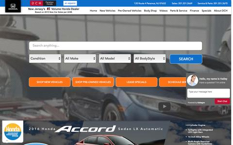 Screenshot of Home Page dchparamushonda.com - NJ Honda Dealer | DCH Paramus Honda Serving Passaic, Paterson, Fair Lawn & Paramus NJ - captured July 31, 2016