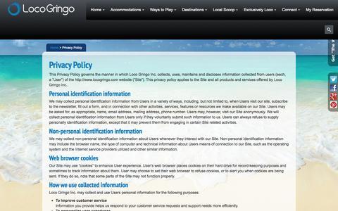 Screenshot of Privacy Page locogringo.com - LocoGringo Privacy Policy - captured Sept. 23, 2014
