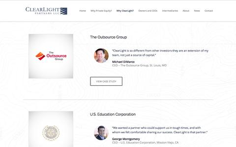 Screenshot of Case Studies Page clearlightpartners.com - Case Studies - ClearLight Partners - captured May 18, 2017