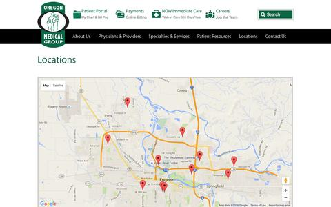 Screenshot of Locations Page oregonmedicalgroup.com - Oregon Medical Group | Locations Eugene OR | Springfield OR - captured Jan. 17, 2016