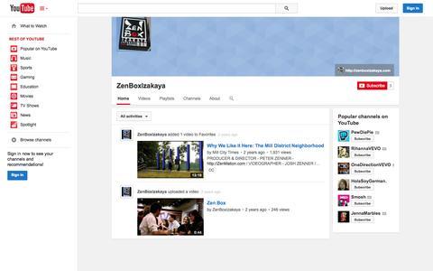 Screenshot of YouTube Page youtube.com - ZenBoxIzakaya  - YouTube - captured Oct. 29, 2014
