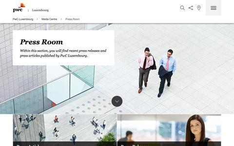 Screenshot of Press Page pwc.lu - Press Room - captured May 11, 2017