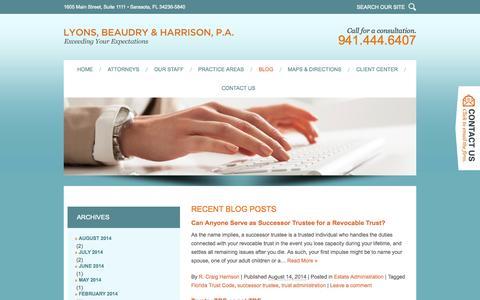 Screenshot of Blog lyonsbeaudryharrison.com - Florida Estate Planning & Real Estate Blog | Lyons, Beaudry & Harrison, P.A. - captured Oct. 3, 2014