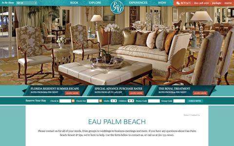 Screenshot of Contact Page eaupalmbeach.com - Best Beach Resorts in Florida | Eau Palm Beach Resort & Spa - Contact Us | FL Beach Resorts - captured Oct. 1, 2014
