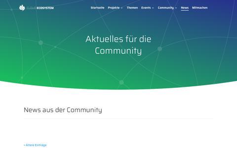 Screenshot of Press Page cloudecosystem.org - Community News | Cloud Ecosystem - captured Sept. 28, 2018