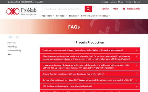 Screenshot of FAQ Page promab.com - FAQs  | ProMab - captured Sept. 29, 2018