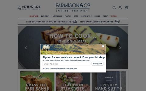Screenshot of Home Page farmison.com - Farmison & Co Rare Breeds Grass Fed Meat Box Free Range Online Butcher - captured Sept. 2, 2016