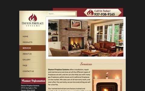 Screenshot of Services Page daytonfireplace.com - Dayton Fireplace Services | Ohio Fireplace Services - captured Nov. 1, 2014