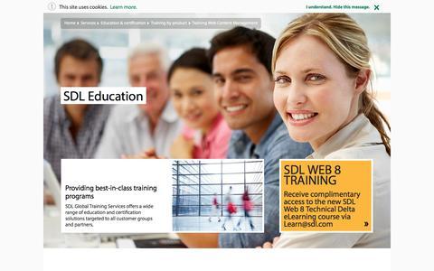 Screenshot of sdl.com - SDL Tridion Education | SDL - captured Nov. 2, 2016
