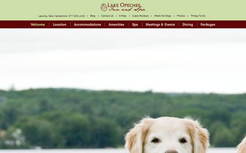 Screenshot of Home Page opecheeinn.com - Laconia, NH Hotel - Lake Ochepee Inn and Spa - captured Jan. 24, 2016
