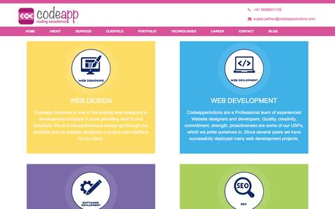 Screenshot of Services Page codeappsolutions.com - website development in pune and website designing in pune | codeappsolutions - captured Aug. 11, 2017