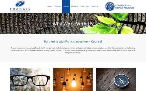 Screenshot of Services Page francisinvco.com - Why Work With Us - Francis Investment Counsel - captured Oct. 11, 2018