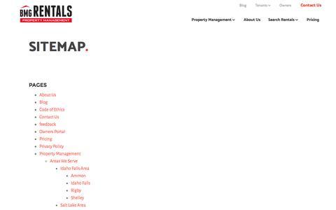Screenshot of Site Map Page bmgrent.com - Sitemap – BMG Rentals Property Management - captured Nov. 21, 2016