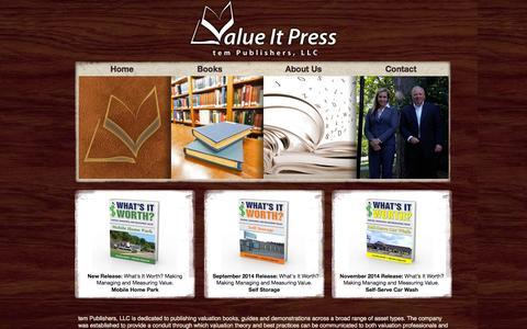 Screenshot of Home Page valueitpress.com - Publishers of Valuation Books | Value It Press - captured Sept. 30, 2014