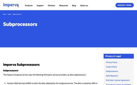 Screenshot of Terms Page imperva.com - Subprocessors | Imperva - captured April 1, 2019