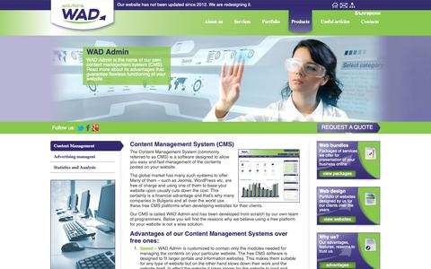Screenshot of Products Page wadsolutions.com - WAD Admin - CMS | WAD Solutions - captured Oct. 20, 2018