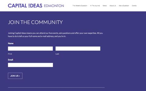 Screenshot of Signup Page capitalideasedmonton.com - Join the Community - Capital Ideas EdmontonCapital Ideas Edmonton - captured July 18, 2015