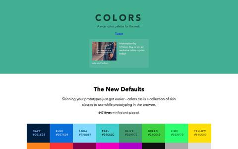 Screenshot of Home Page clrs.cc - Colors - A nicer color palette for the web. - captured Jan. 19, 2016