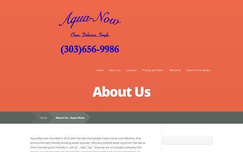 Screenshot of About Page aqua-now.com - About Us - Aqua-Now   Aqua-Now - captured Sept. 30, 2014