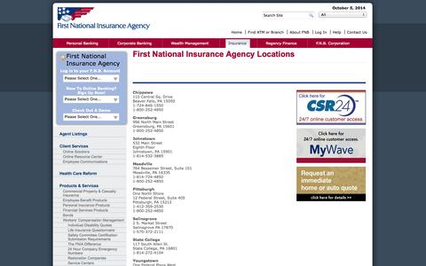 Screenshot of Locations Page fn-ins.com - First National Insurance Agency Pennsylvania Locations - captured Oct. 6, 2014