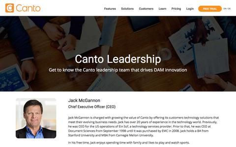 Screenshot of Team Page canto.com - Leadership - Canto - The Leader in Digital Asset Management Solutions - captured May 23, 2018