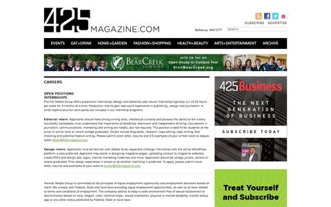 Screenshot of Jobs Page 425magazine.com - Editorial Interns and Careers - captured Oct. 27, 2014
