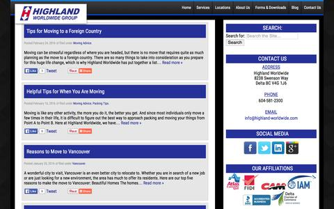 Screenshot of Blog highland-worldwide.com - Moving & Storage Tips and Information Blog - captured Feb. 25, 2016