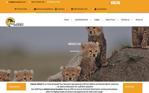 Screenshot of About Page falconsafaris.com - about us - Falcon Safaris - captured Dec. 12, 2018