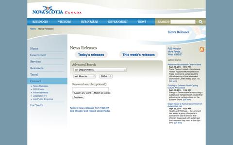 Screenshot of Press Page novascotia.ca - News Releases | novascotia.ca - captured Sept. 19, 2014