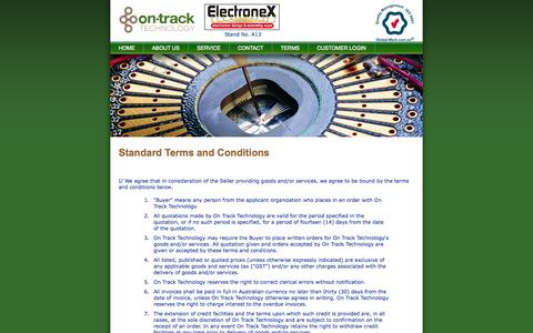Screenshot of Terms Page on-track.com.au - On-Track Technology - PCB Assembly,Box Build,Consignment,Repair & Rework,Chassis Assembly,QC & Testing,Delivery - captured Oct. 7, 2014