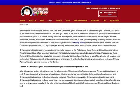 Screenshot of Terms Page christmaslightscreations.com - Legal | Christmas Lights Creations - captured Feb. 17, 2017