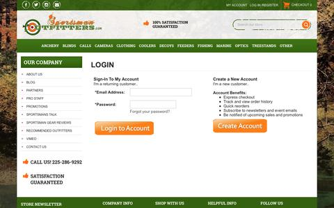 Screenshot of Login Page sportsmanoutfitters.com - Login - captured Aug. 15, 2016