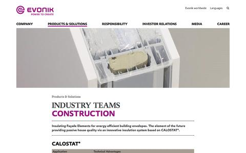 Insulating Facade Elements - Construction Industry - Evonik Industries AG