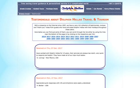 Screenshot of Testimonials Page dolphin-hellas.gr - Travellers' testimonials - Travel in Greece with Dolphin Hellas - captured March 16, 2018