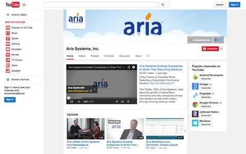 Screenshot of YouTube Page youtube.com - Aria Systems, Inc.  - YouTube - captured Oct. 22, 2014
