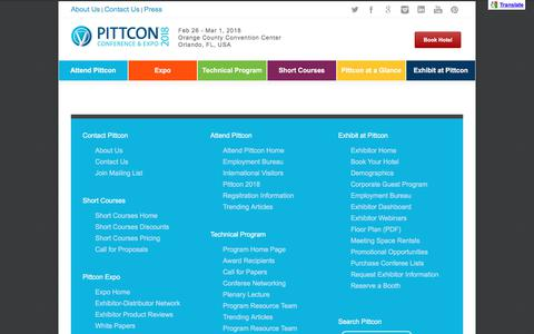 Screenshot of Site Map Page pittcon.org - Pittcon | Conference & Expo Site Map - Pittcon | Conference & Expo - captured Aug. 4, 2017